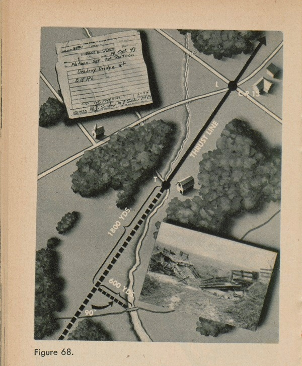 Figure 68: An example of an order map with a thrust line, distances and a paper directions to destroy bridge at B18R6.