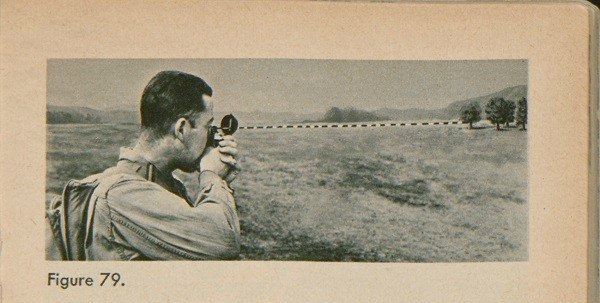 Figure 79: A man looking through a compass with a dotted line leading to a tree in the distance.