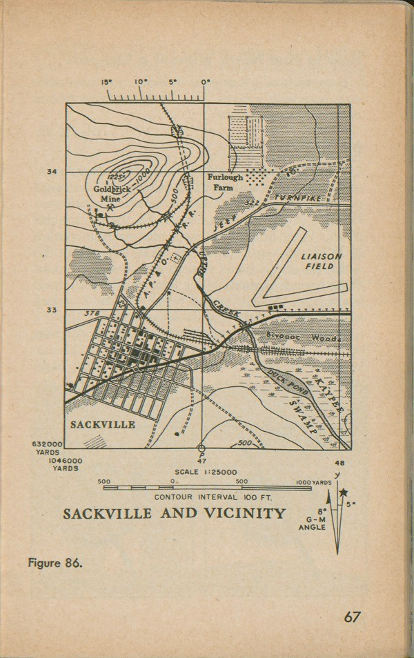 Figure 86: Map of Sackville and vicinity with contour interval 100 FT, scale 1:25000, and G-M angle.