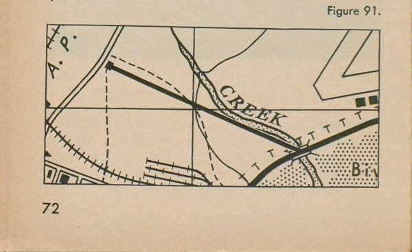 Figure 91: A section of a map with two points on it, a house and a bridge, where the highway crosses the creek.