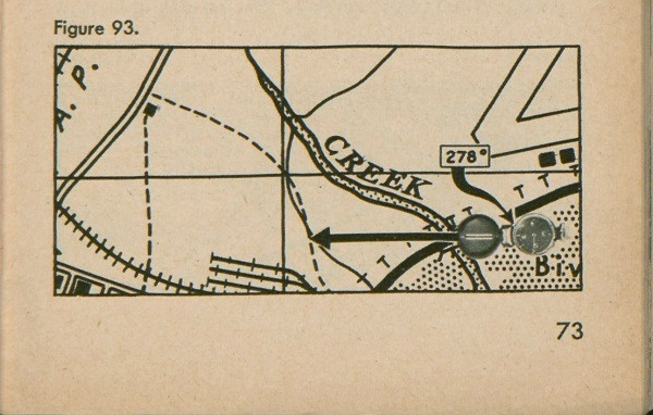 Figure 93: A section of a map with two points on it, a house and a bridge, where the highway crosses the creek; with a compass atop the bridge.