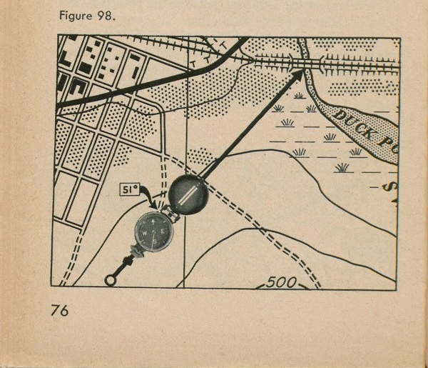 Figure 98: A compass atop a map with an arrow pointing at a bridge.