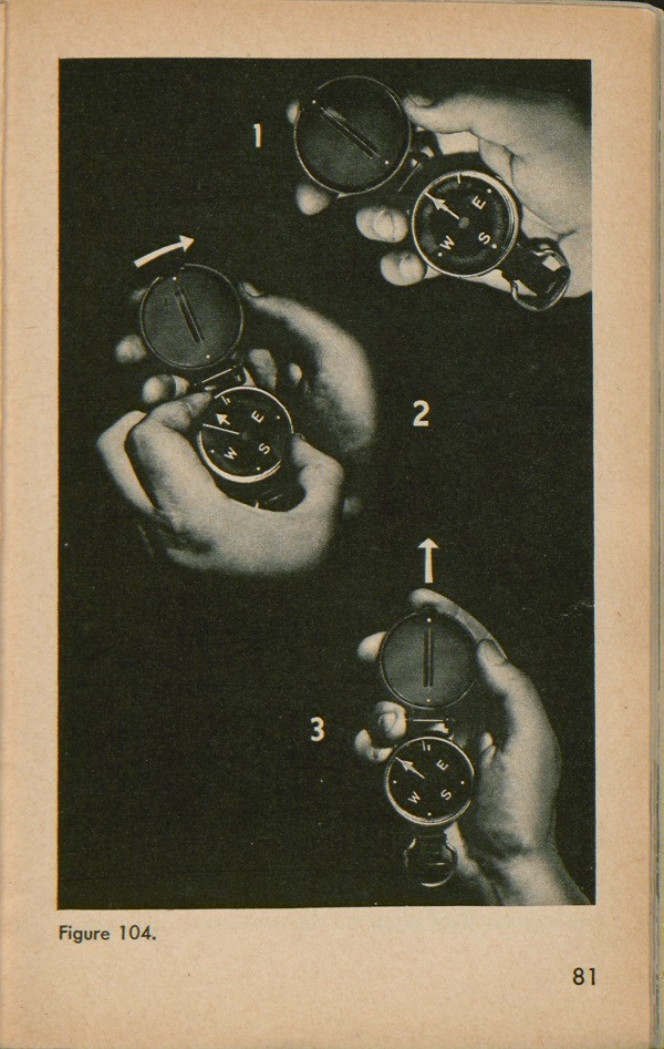Figure 104: Three positions of a hand holding a compass to determine azimuth at night.