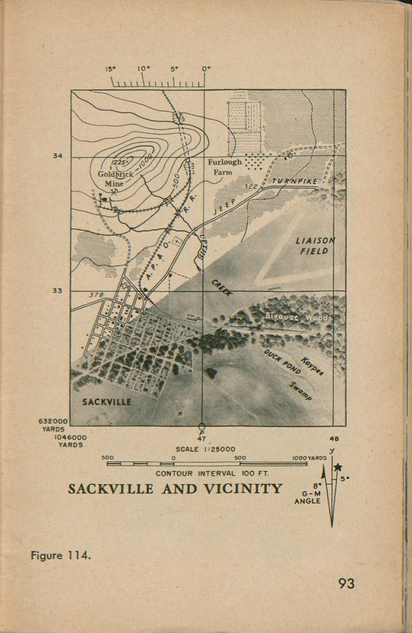 Figure 114: Map of Sackville and vicinity with contour interval 100 FT, scale 1:25000, G-M angle, and half the map a satellite view.