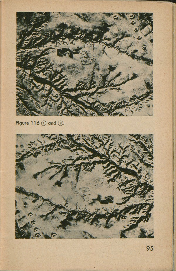 Figure 116: Two images; one an aerial view of a barren area near Mareth Line in Tunisia, cut by deep stream lines. The second, the same image, only upside down, makes the deep cuts look like mountains.