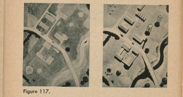 Figure 117: Two aerial view images of a neighborhood one with shadows and the other without, illustrating how much can be learned from the shadows of objects.