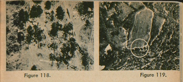 Figure 118: An aerial view of the mess made by an army unit in bivouac. Figure 119: An aerial view of an area with four track patterns in an area likely to hold artillery.