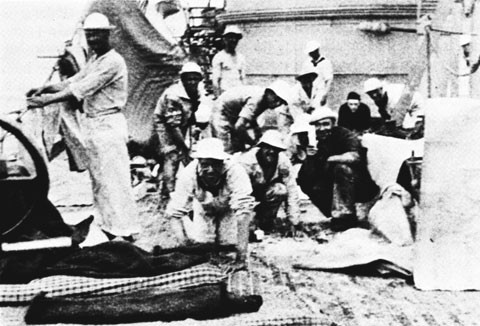 Aired bedding aboard the USS DIXIE during the Spanish-American War