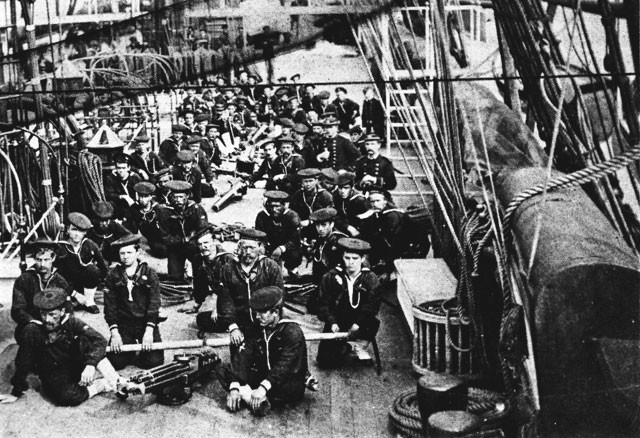 Machine gun drill in USS Trenton, 1880.
