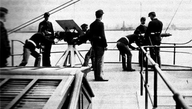 Machine gun drill in the USS Newark