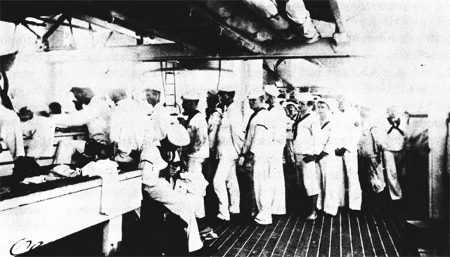 Clothing and small stores issue in the USS OLYMPIA, 1898