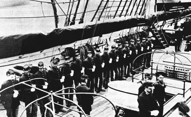 Marine Guard in the USS Galena, photographed at the Portsmouth Navy Yard, 1883.