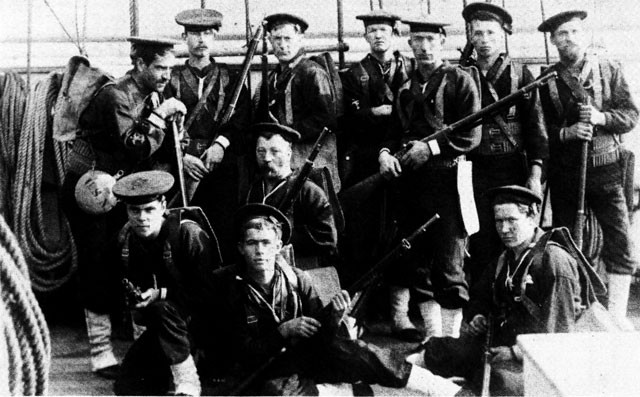 Enlisted men of the USS Galena equipped for landing, 1890