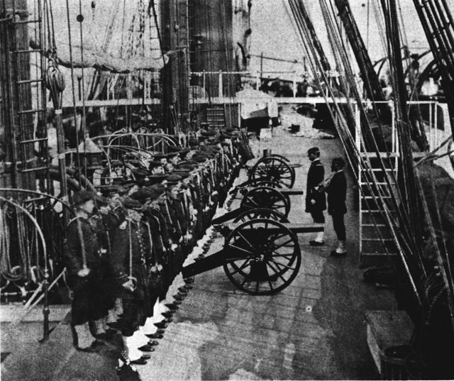 Howitzer drill In the USS Trenton, 1881