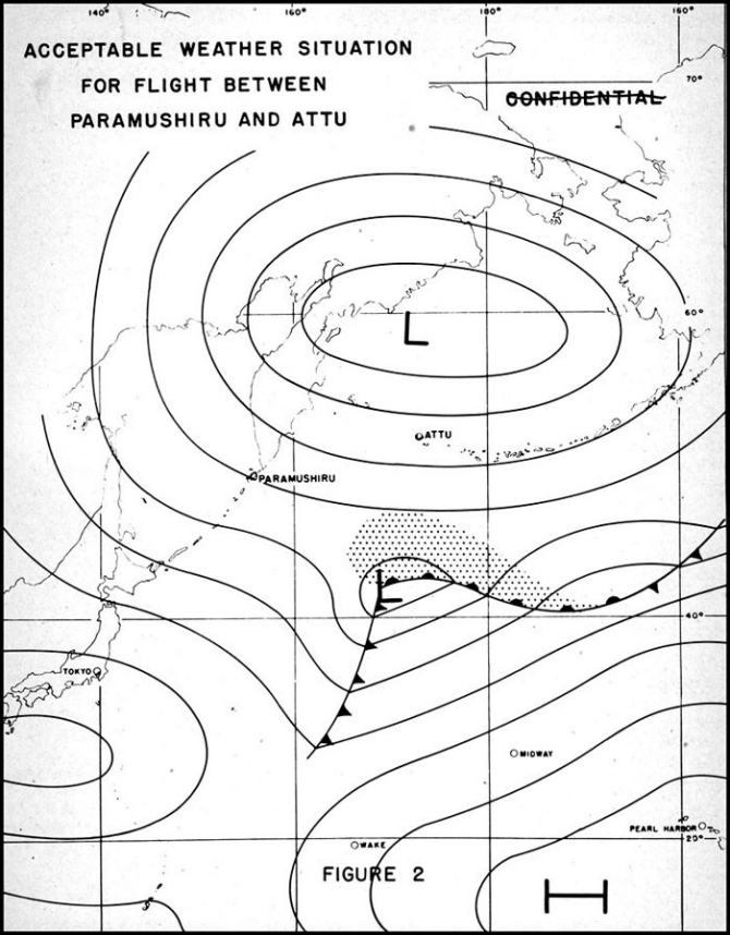 Acceptable Weather Situation for Flight Between Paramushiru and Attu.