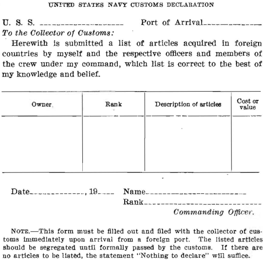 United States Navy Customs Declaration, text below image.