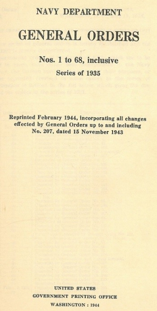 Cover image of 1935 General Orders.
