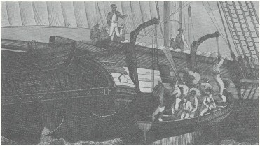 Hoisting out a boat