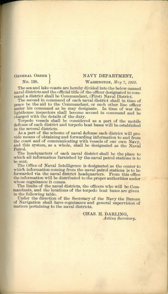 Image of 1st page: Establishment of Naval Districts: General Order No. 128, 7 May 1903