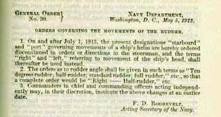 Image of General Order No. 30 (1913) Orders Governing the Movements of the Rudder