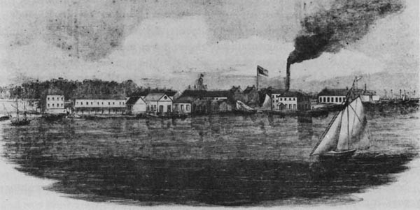 Naval Yard at Pensacola as seen from Fort Pickens in 1861.