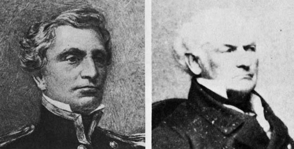 (l. to r.) Commodore Josiah Tattnall, CSN, and Captain Hiram Paulding, USN.