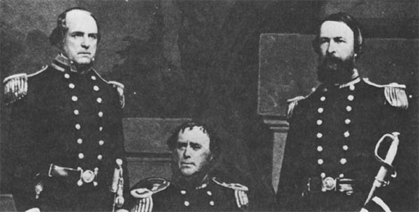 (l. to r.) Commander Sidney Smith Lee, Captain Samuel F. DuPont, and Lieutenant David Dixon Porter, circa 1855.