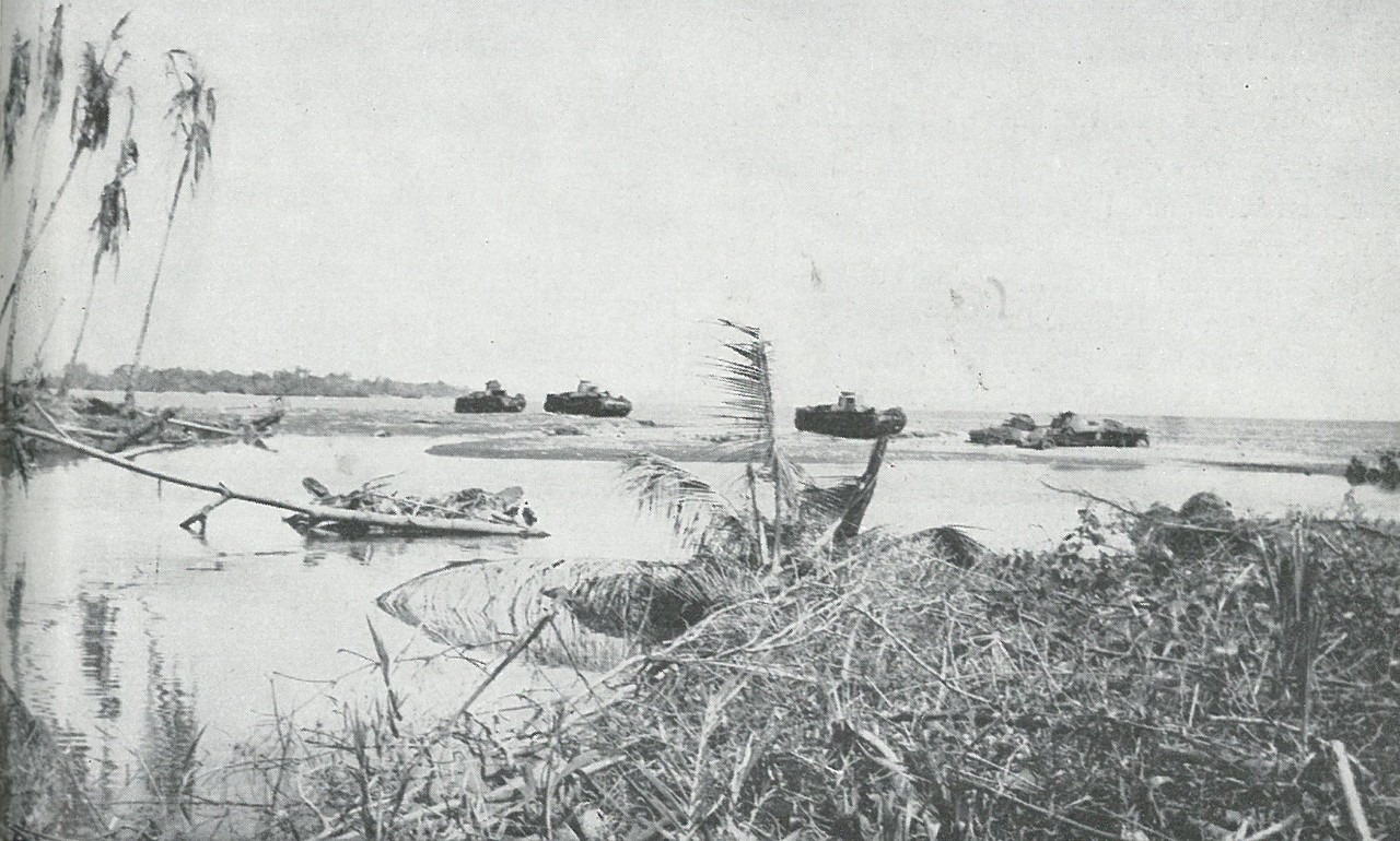 JAPANESE MEDIUM TANKS attempted a sortie across the mouth of the Matanikau only to be destroyed by Marine antitank guns and 75mm half-tracks.