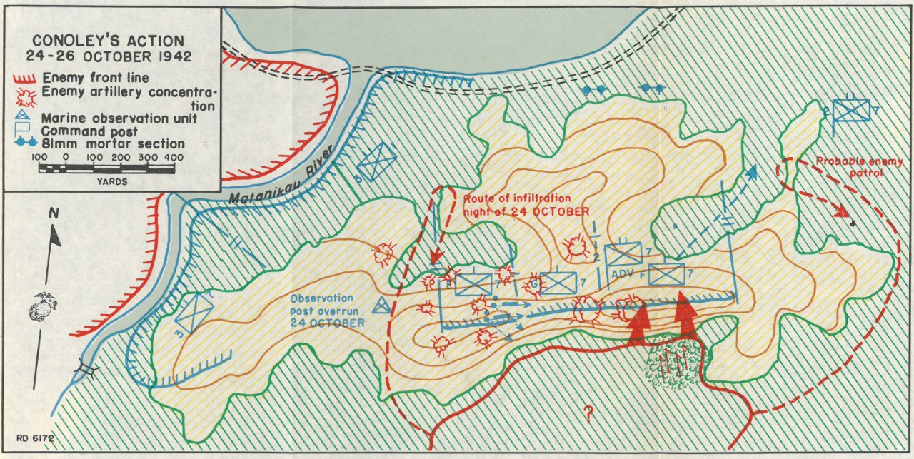 Map 13: Conoley's Action, 24-26 October 1942.