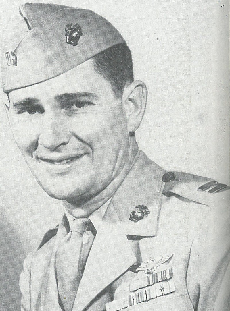 CAPT J. J. FOSS, of VMF-121, received the Medal of Honor for outstanding heroism as a fighter pilot during the Guadalcanal campaign.