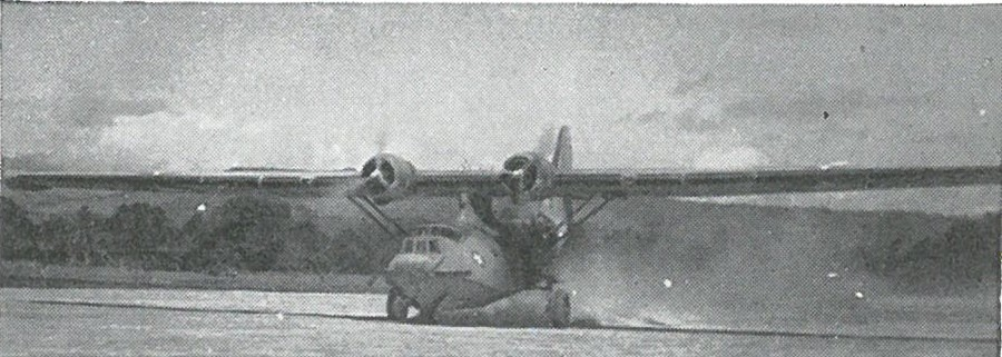 FIRST PLANE TO LAND on Henderson Field was a Navy PBY-5A which evacuated two wounded Marines on 12 August 1942.