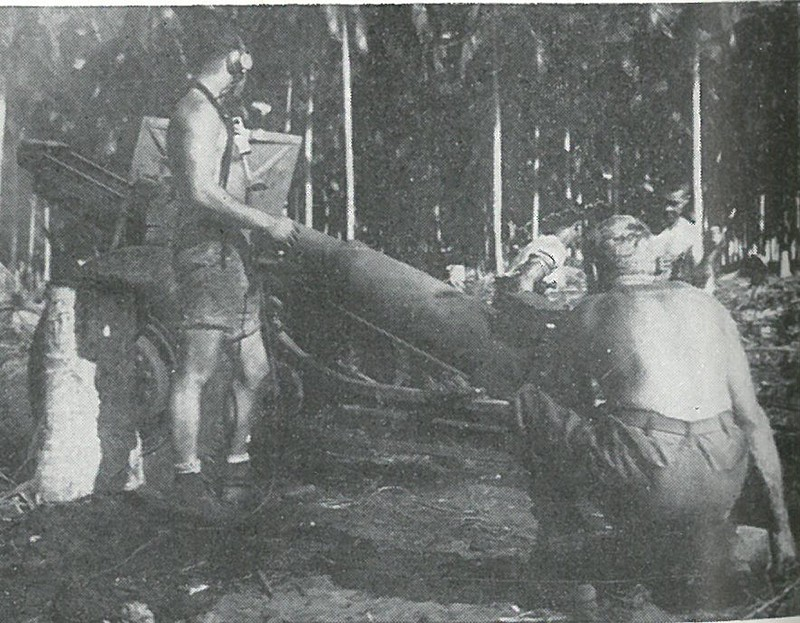 SCIENTIFIC EXTERMINATION was the artillerymen's objective. This 155mm howitzer is being fired at Japanese targets west of the Matanikau by Marines of the 4th Battalion, 11th Marines.