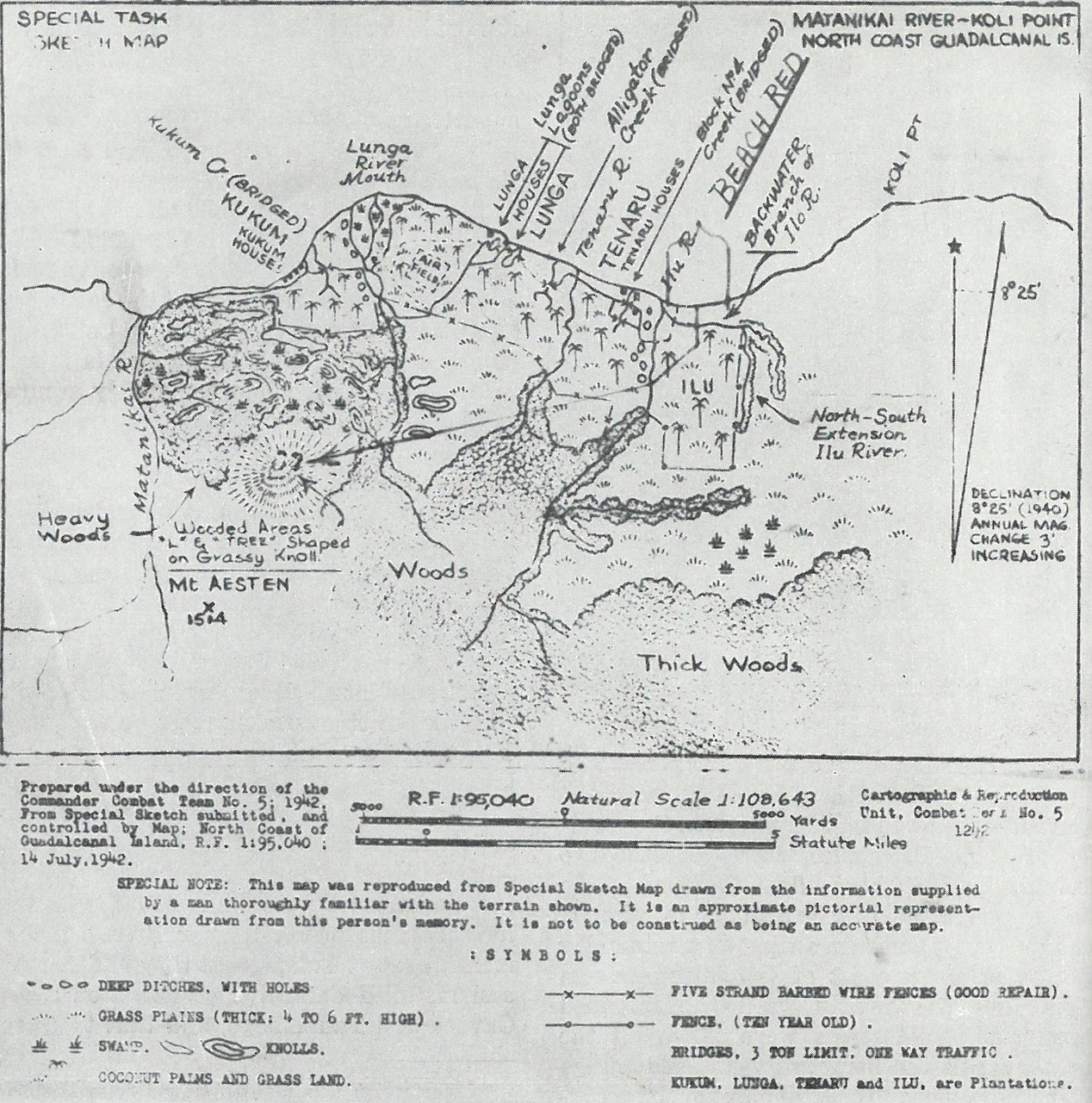CRUDE MAPS handicapped General Vandegrift both in planning and operations. One, dated 14 July 1942, demonstrates the paucity of what was known before landing; the other, a month later, is little better than a battlefield sketch, but the best available.
