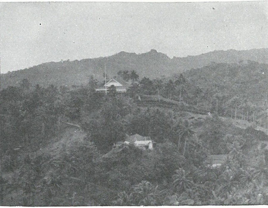 EDSON'S COMMAND POST, the former British residency on Tulagi, was established on the afternoon of 7 August. This View looks north toward Florida Island hills on skyline.