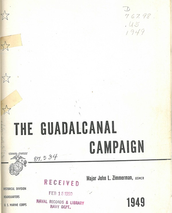 "Cover page image to ""The Gudalcanal Campaign"""