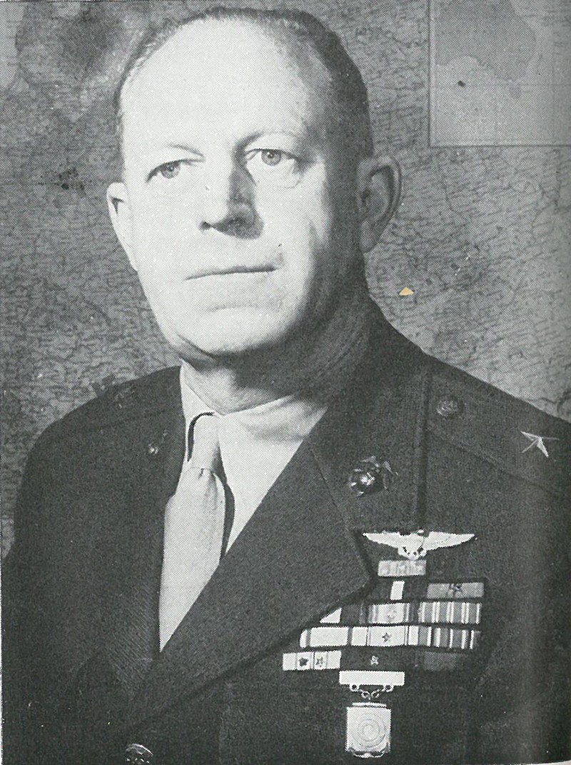 COL MERRITT A. EDSON, whose defense of the Ridge saved Henderson Field, was subsequently awarded the Medal of Honor for his heroism and skill.