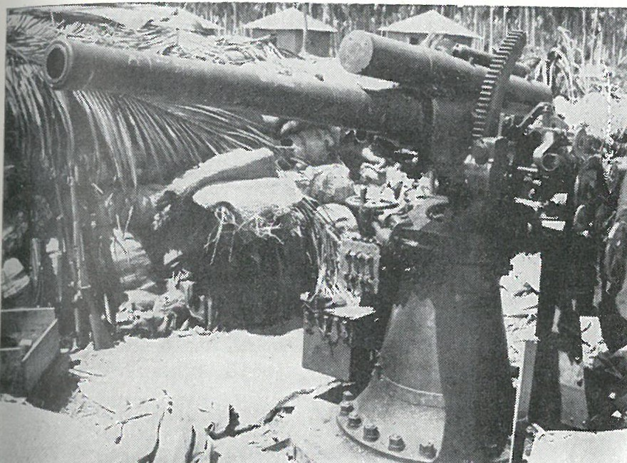 USING CAPTURED JAPANESE GUNS such as the 3-inch dual purpose weapon shown here, Marines of Company M, 5th Marines, dueled with a Japanese cruiser on 19 August. No hits were scored by either party.