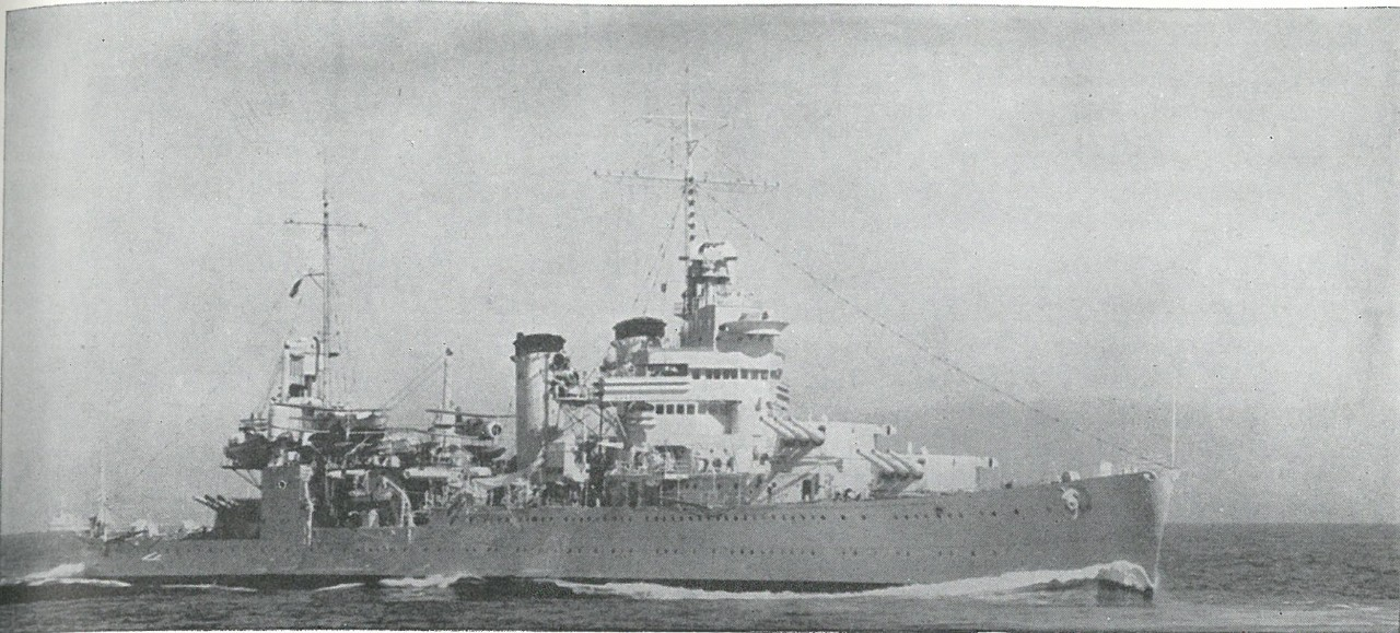VICTIM OF SAVO ISLAND, the heavy cruiser Astoria burned throughout the morning of 9 August 1942, until, engulfed by uncontrollable flames, she sank.