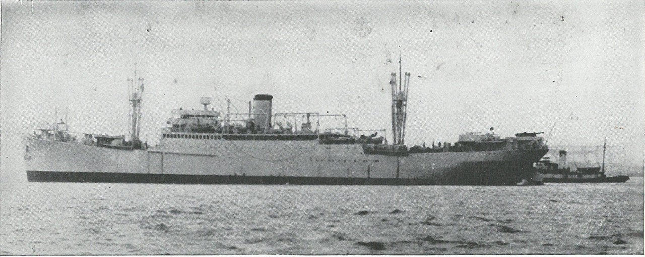 THE TRANSPORT, GEORGE F. ELLIOTT, was the first to be sunk in the Guadalcanal campaign, on 8 August 1942. Before U.S. torpedoes administered the coup de grace, the burning Elliott silhouetted other U.S. men of war for the Savo Island disaster.