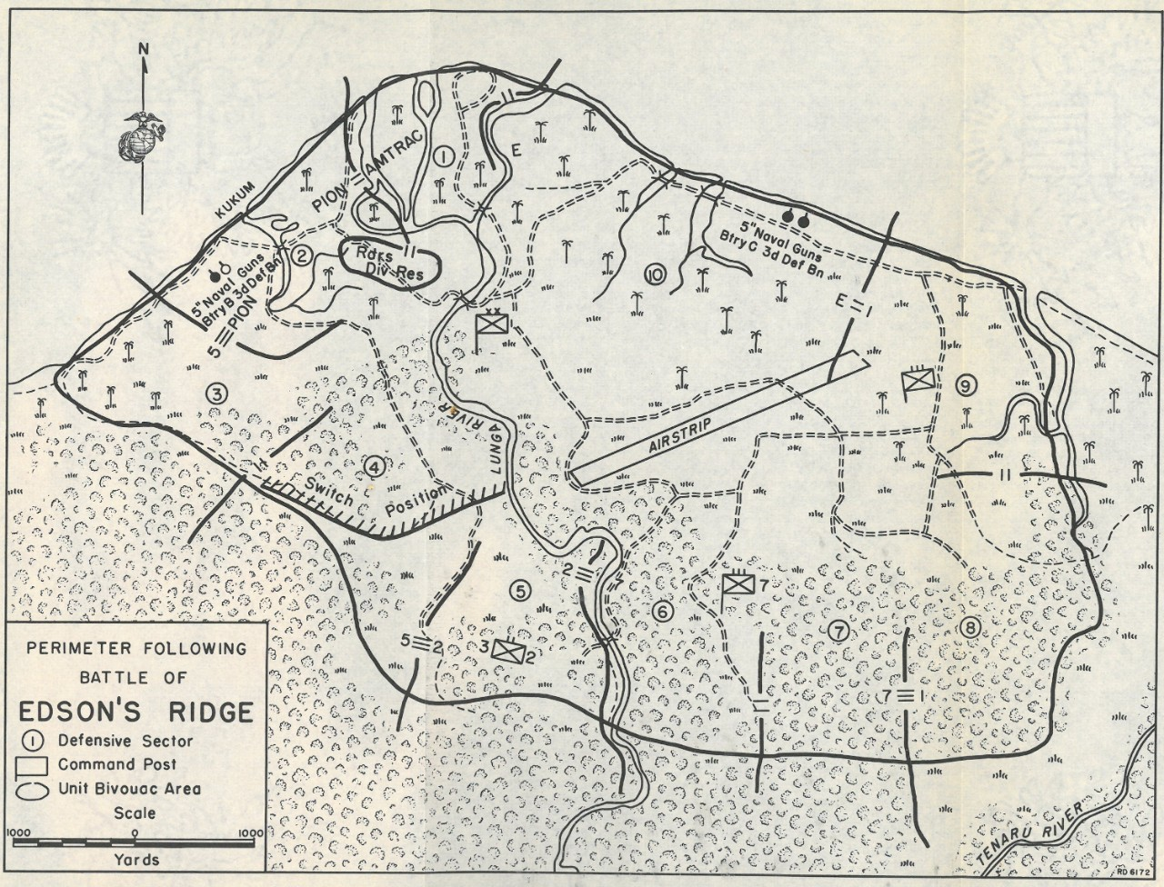 Map 10: Perimeter Following Battle of Edson's Ridge.