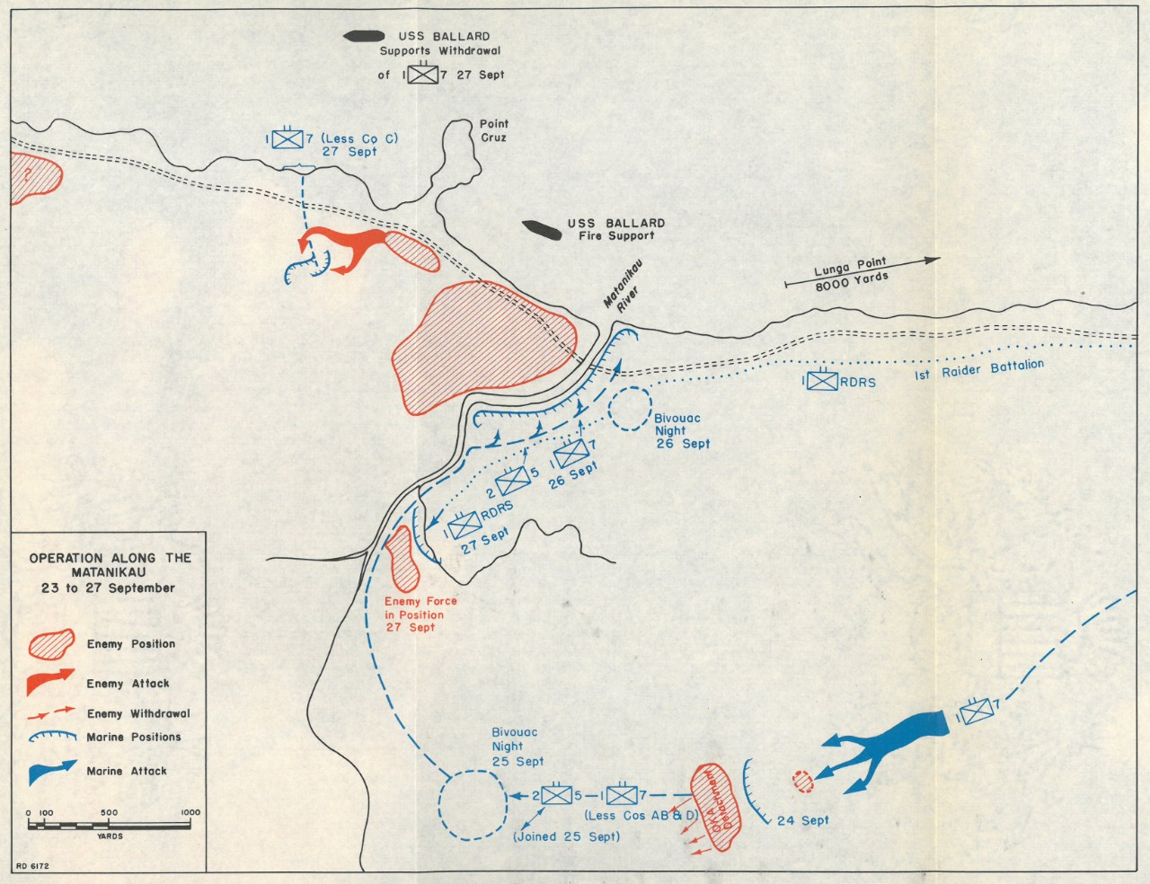 Map 11: Operation Along the Matanikau, 23 to 27 September.