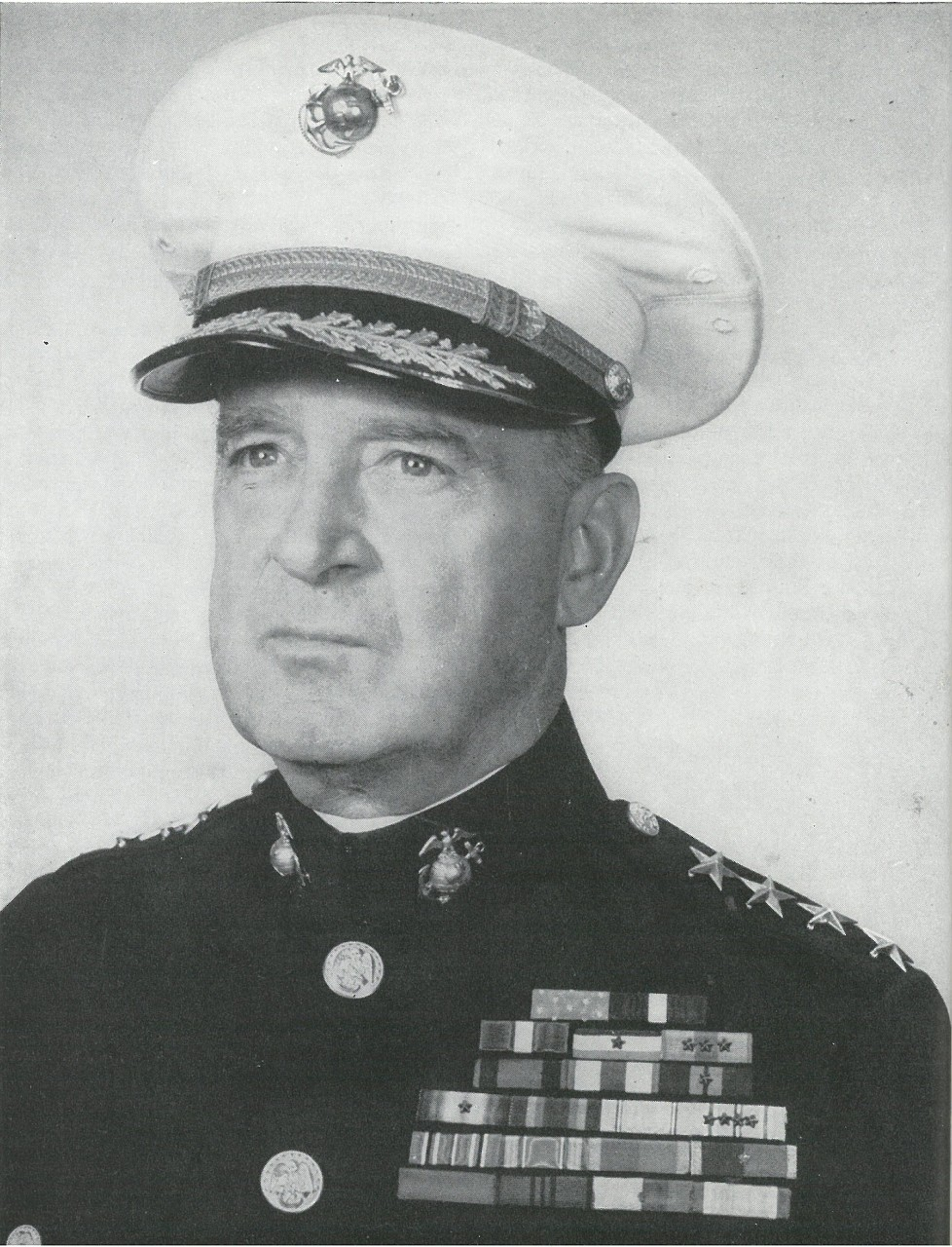 GEN A. A. VANDEGRIFT, eighteenth Commandant of the Marine Corps, who led Marines to victory on Guadalcanal as commander of the 1st Marine Division (reinforced).