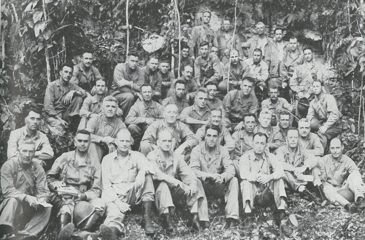 THE EXISTENCE OF THE FLEET MARINE FORCE in 1942, together with the leadership and amphibious technique it had produced, made Guadalcanal possible. This picture, taken in August 1942, shows the Marine leaders who launched the campaign, including two - Vandegrift and Cates (front row, fourth and sixth from left) - future Commandants of the Corps.