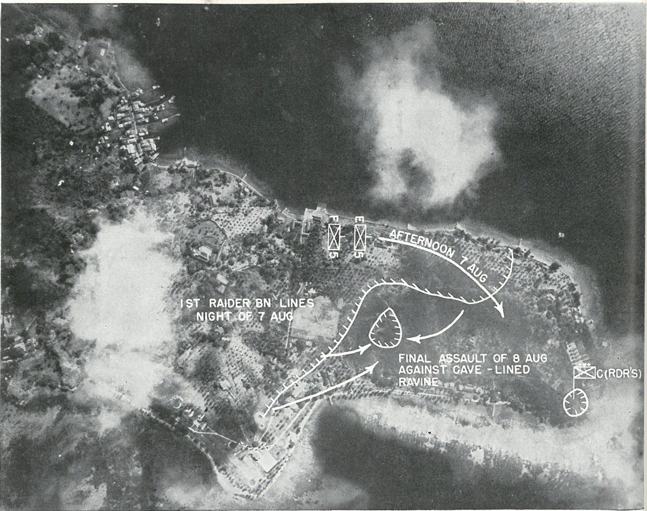 FINAL ASSAULTS ON TULAGI were delivered by elements of 1st Raider Battalion and 2d Battalion, 5th Marines, as shown on overprint. photograph was taken by Navy carrier-planes during strike of 4 May.