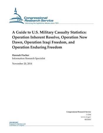 A Guide to U. S. Military Casualty Statistics: Operation Inherent Resolve, Operation New Dawn, Operation Iraqi Freedom, and Operation Enduring Freedom cover image.