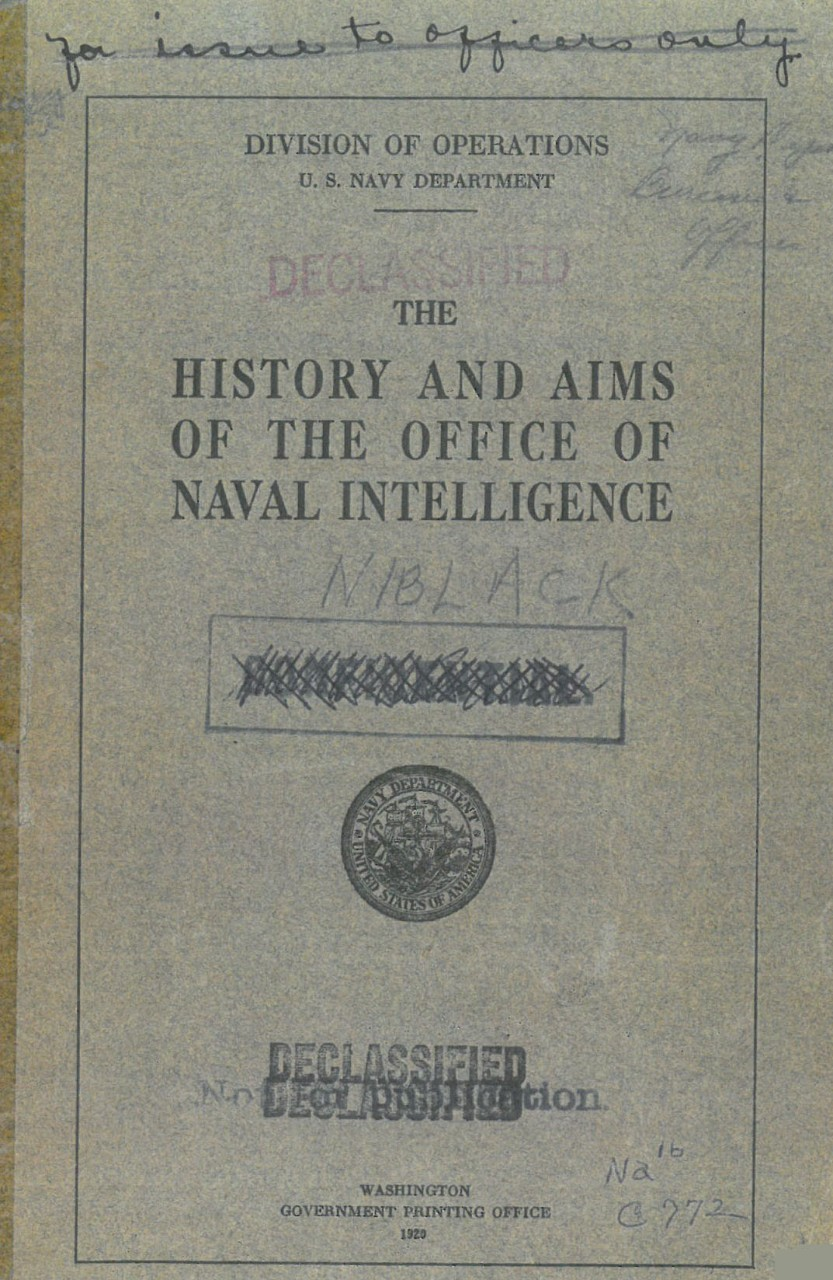 History and Aims of the Office of Naval Intelligence