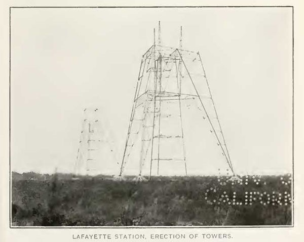 LAFAYETTE STATION, ERECTION OF TOWERS.
