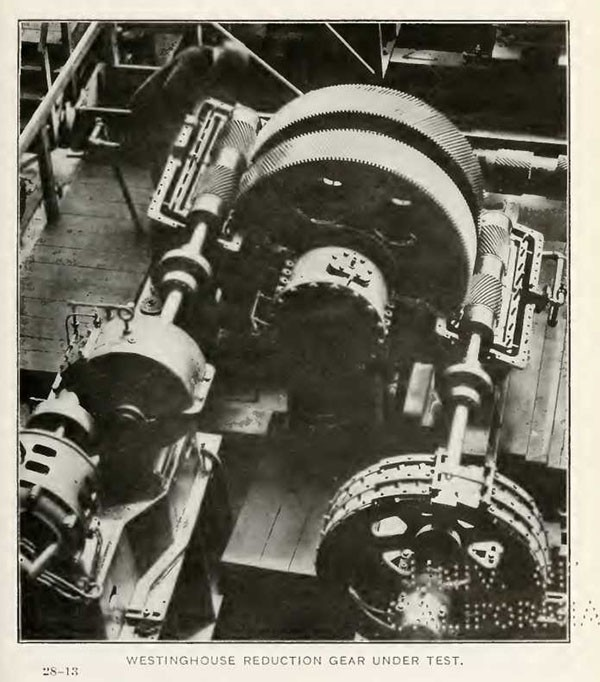 WESTINGHOUSE REDUCTION GEAR UNDER TEST.