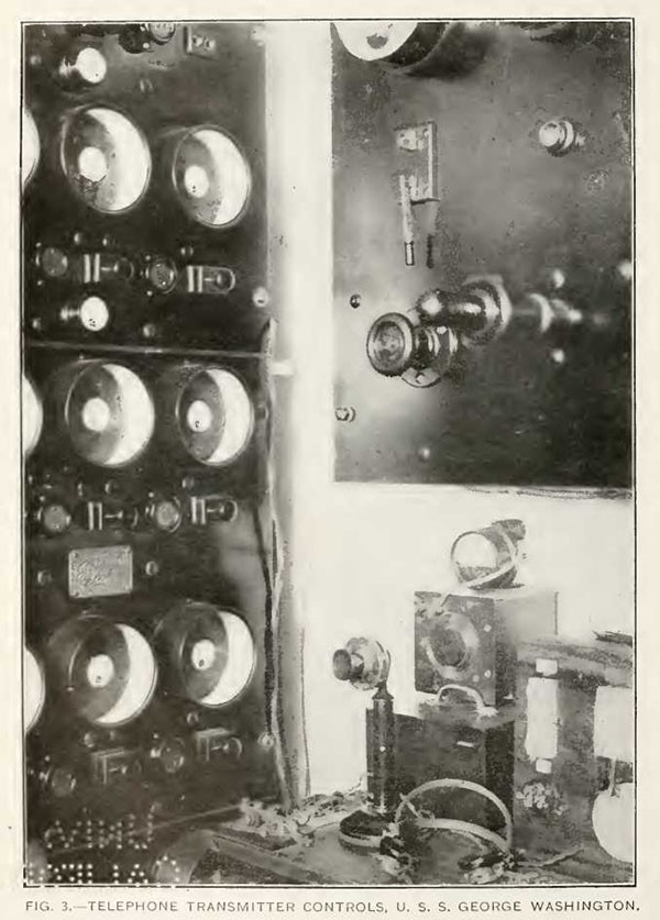 FIG. 3.—TELEPHONE TRANSMITTER CONTROLS, U. S. S. GEORGE WASHINGTON.