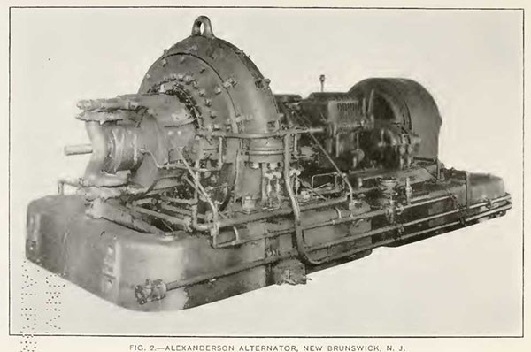 FIG. 2.—ALEXANDERSON ALTERNATOR, NEW BRUNSWICK, N. J.